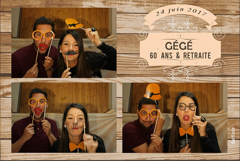 Borne photobooth pour soirée anniversaire et départ en retraite