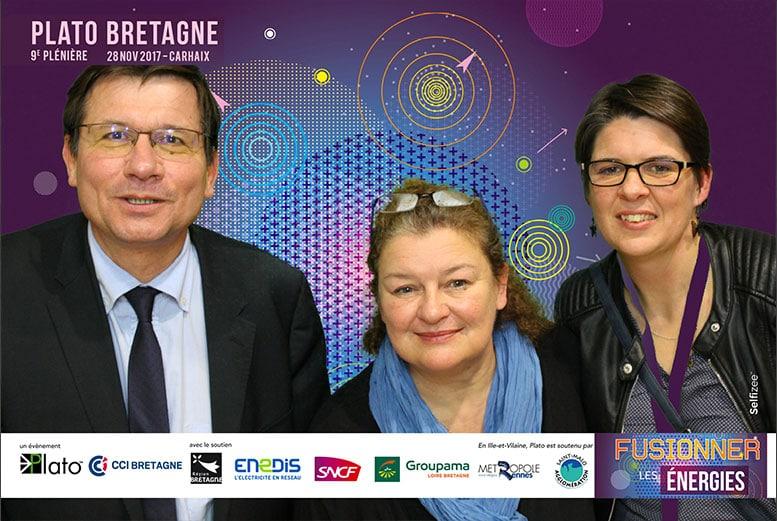 Animation photo fond vert pour la plénière régional PLATO à Carhaix-Plouguer avec borne selfie