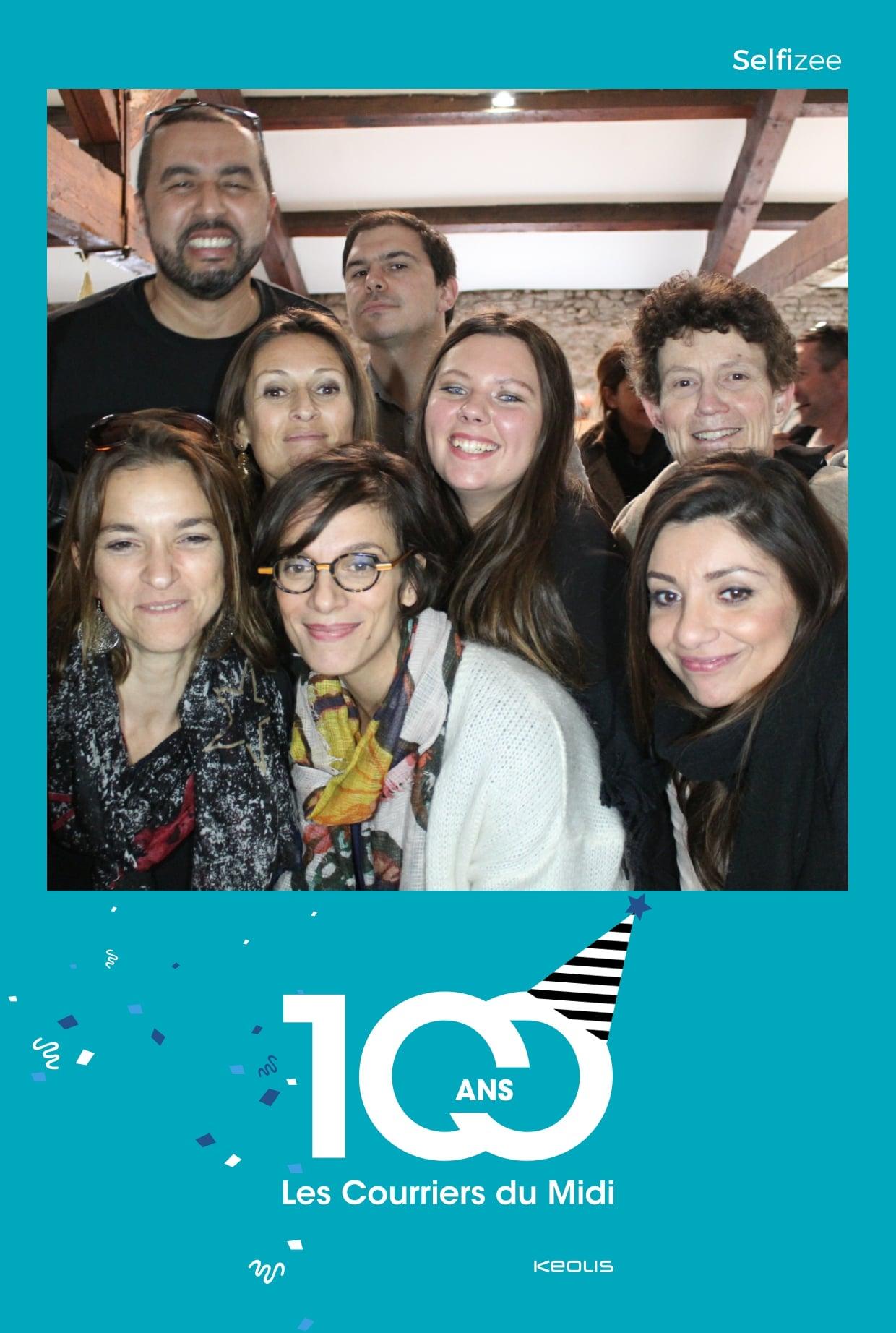 Animation borne photo fête anniversaire Courriers du Midi à Montpellier avec selfie box personnalisée et impressions photos