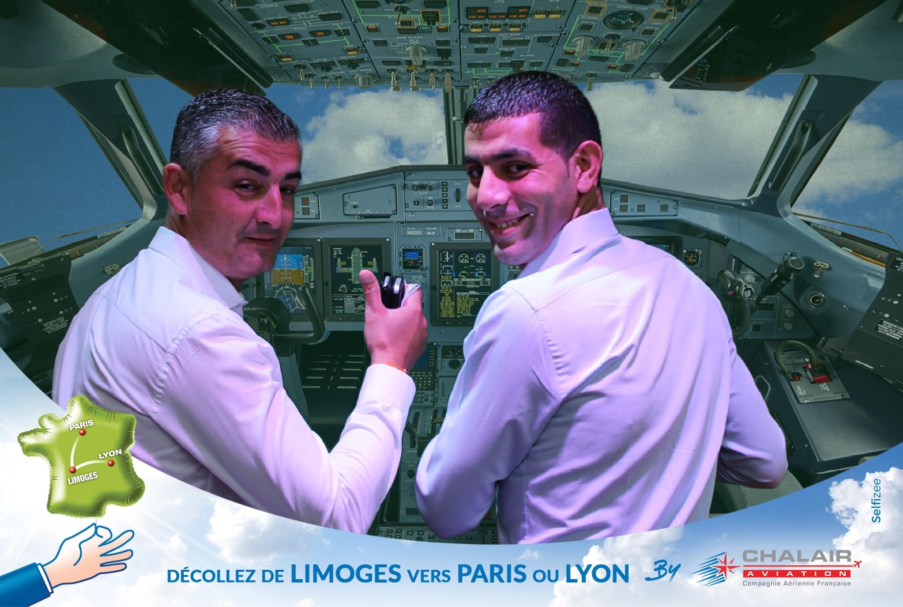Selfie personnalisé animation borne photo et fond vert à la Foire Limoges 2019 au stand de Chalair Aviation