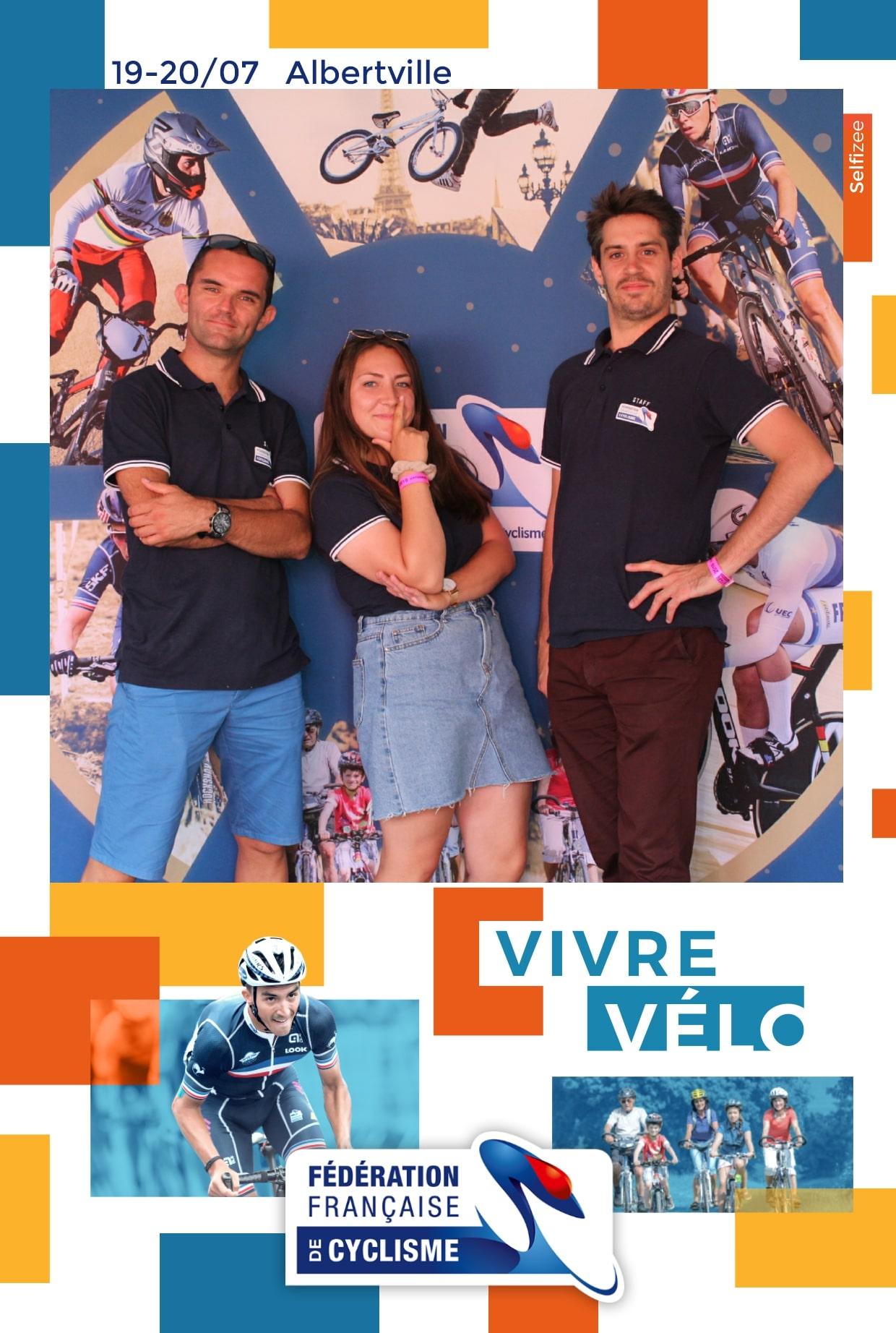 Borne selfie au tour de France 2019 avec animation photos pour les visiteurs lors la 20ème étape à Albertville en Savoie