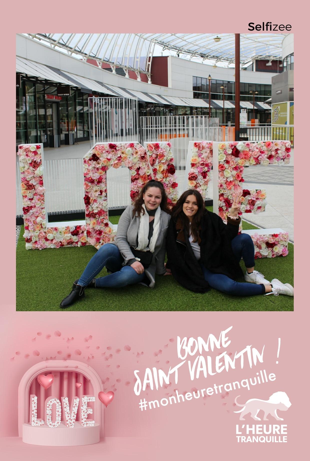 Borne selfie animation photo Saint Valentin 2020 au centre commercial l'Heure Tranquille à Tours