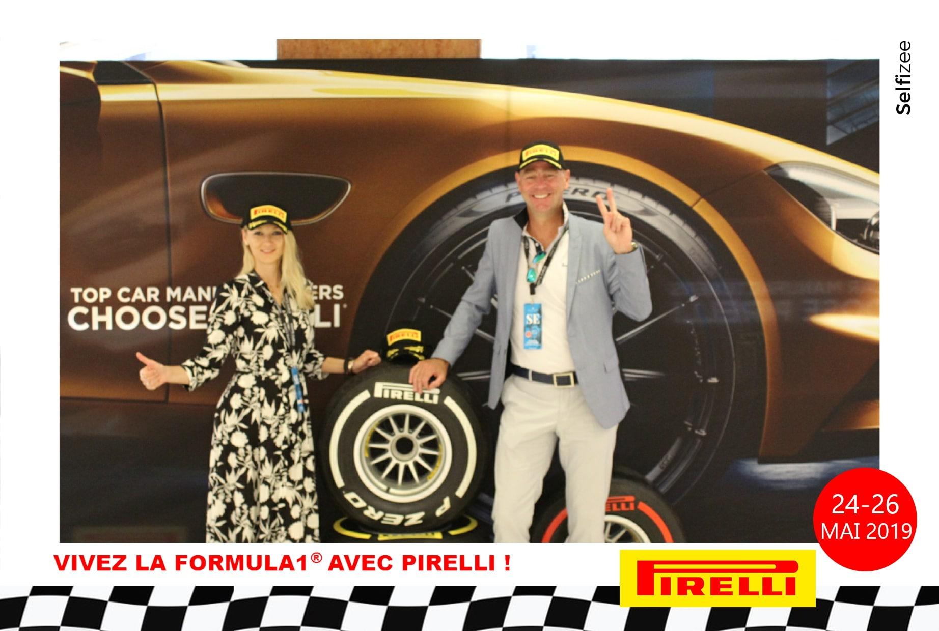 Selfie personnalisé et animation photobooth au Centre Commercial de Fontvieille Monaco - événement Pirelli pour le Grand Prix de Monaco F1