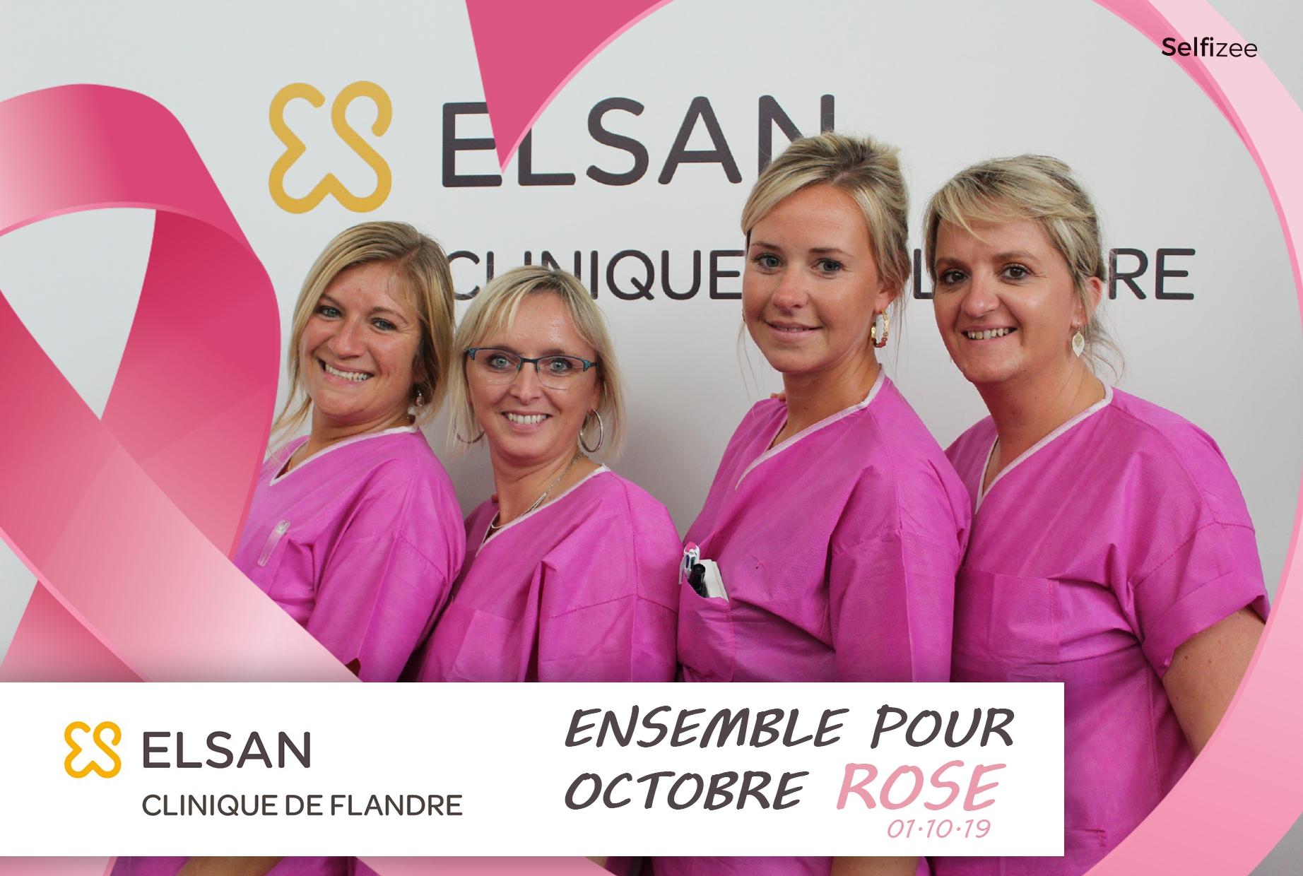 Borne photo et animation selfie à la clinique de Flandre ELSAN à Coudekerque-Branche à côté de Dunkerque pour opération octobre rose 1 selfie = 1€ reversé à l'association Au-delà du Cancer