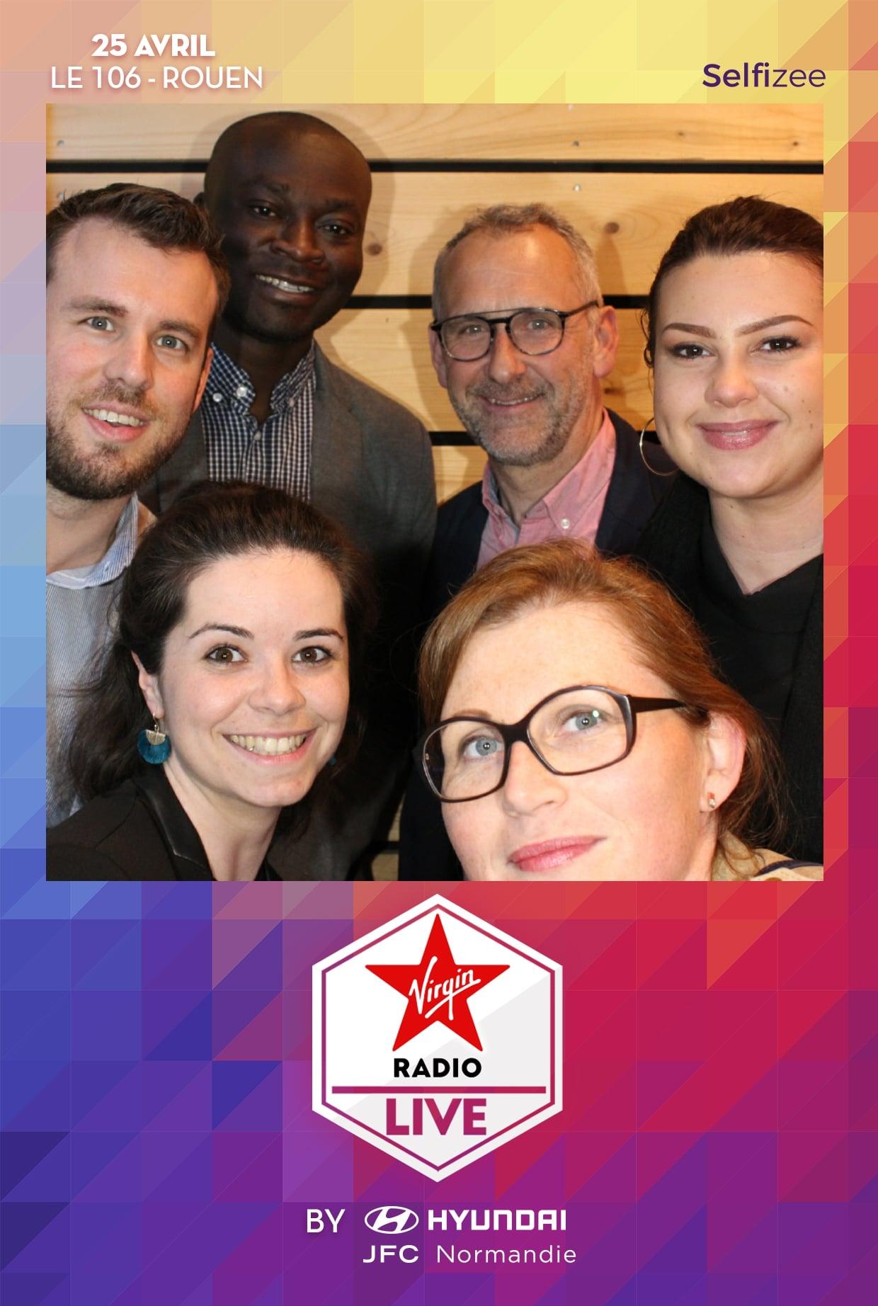 Borne selfie et impressions photos animation soirée concert Virgin Radio Live Le 106 à Rouen